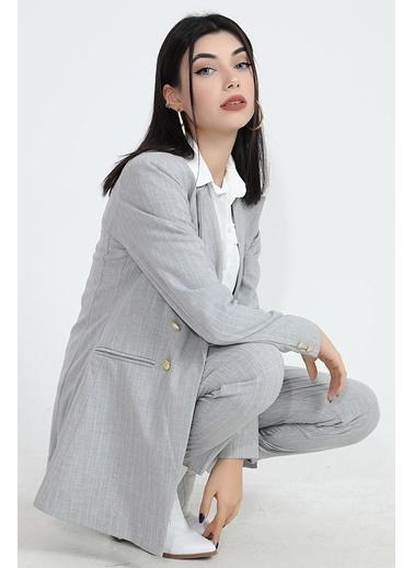Vpr Moda Arka Beli Lastikli Kemerli Kadın Havuç Kumaş Pantolon Gri